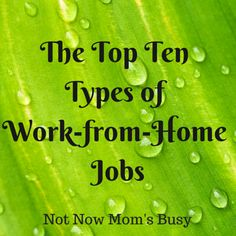 The Top Ten Types of Work-from-Home Jobs   Not Now Mom's Busy #workfromhome #jobs  Know More http://themillionairemastermind.com/
