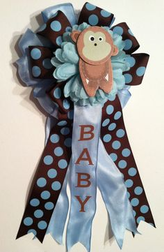 Monkey Baby Shower Corsages by littlecreationz on Etsy, $25.00