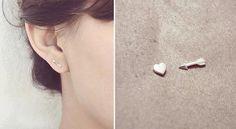 Heart and Arrow Sterling Silver Earrings by JoyeriaAmandina, $35.00
