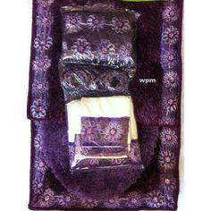 Luxury Purple Shower Curtain   19pc Bathroom Rug Set Luxury Purple Flower  Bath Shower Curtain Towels