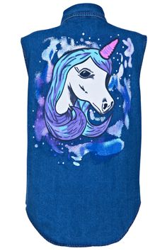 "DENIM FASHION - Studded - ""Unicorn"" Blue Vest"""