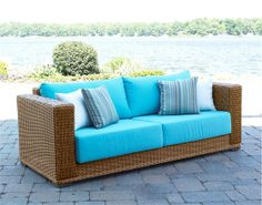 Wicker Paradise as outdoor wicker furniture, including wicker patio furniture and Rattan furniture for sale. Wicker furniture makes for perfect sunroom furniture too! Resin Wicker Furniture, Sunroom Furniture, Wicker Sofa, Pink Furniture, Lounge Furniture, Tropical Furniture, Pink Cushions, Green Home Decor, Furniture Styles