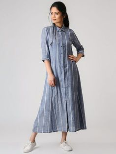 Buy SHEEN Blue Striped Cotton Shirt Style Kurti online in India at best price. Frock Style Kurti, Shirt Style Kurti, Trendy Dresses, Modest Dresses, Fashion Dresses, Modest Clothing, Casual Indian Fashion, Cotton Frocks, Cotton Dresses