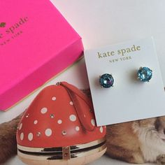 """Kate Spade gumdrop earrings ️️TRADES‼️PRICE FIRM‼️ Add some charm to your look with the Kate Spade Gumdrops Stud Earrings. COLOR: Grace-blue. Each 14k gold-fill post holds a shiny faceted bauble in a 12k gold-plated brass setting. Will add subtle sparkle to your lobes for elegant style. Pair with a sweet floral dress, cardigan, and ballet flats. measurements: 0.55"""" wide. 0.55"""" long. Will ship with pouch. kate spade Jewelry Earrings"""
