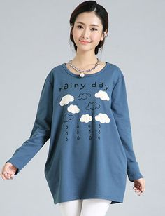Casual Rain and Cloud Patch Up Pocket Trim Tee For Women | Item Code 727457 at M.EastClothes.com
