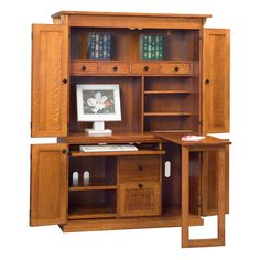 DutchCrafters carries some of the finest Armoire Desks available. Hide your home office clutter inside our Amish Armoire Desk. Purchase a hardwood armoire to co Diy Home Furniture, Amish Furniture, Space Saving Furniture, Furniture Projects, Furniture Plans, Furniture Design, Furniture Outlet, Furniture Stores, Armoire Makeover