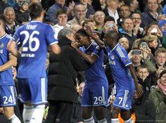 Jose Mourinho and Samuel Eto'o. Chelsea 3-0 FC Schalke 04. Champions League Group Stage. Wednesday, November 7, 2013.