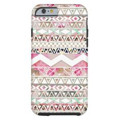 Girly Pink White Floral Abstract Aztec Pattern iPhone 6 Case
