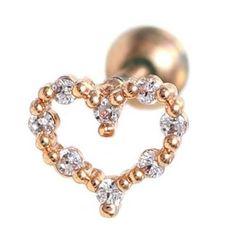 16G Love Symbol Heart body piercing jewelry 6mm, 16g (1.2 mm), Bars & Barbell #BodyJewelry