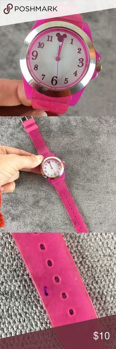 Disney Pink Watch with Large Face Mickey Logo Pink Disney watch with large face and Mickey logo. Has a small ink mark on strap. Disney Accessories Watches