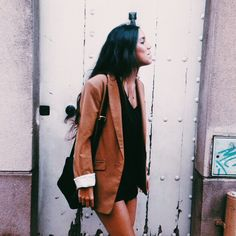 ☼ ☾black romper / jumpsuit with suede boyfriend blazer . Would look great with an oversized cardigan too, but I prefer the shoulder structure of a blazer or jacket .