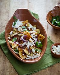 Chicken Chilaquiles are a great way to use leftover tortilla chips.