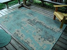 """4'5"""" x7' (135x215cm) Vintage Faded Design Rug, Ocean BlueIndoor & Outdoor Area Rug, Easy to Clean, UV protected & Fade Resistant Furnishmyplace 1126"""