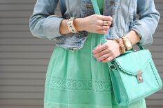 Totally into structured convertible satchels right now. Over two-thirds of women use fashion to express their mood. Mint Green Dress, Green Bag, Washington Dc Fashion, Brand Name Clothing, Purse Styles, Future Fashion, Tj Maxx, How To Feel Beautiful, Types Of Fashion Styles