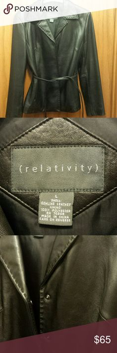 Genuine leather jacket Womens snap front belted leather jacket.  On seam side pockets. Brand new.  Never worn. Relativity Jackets & Coats