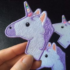 Unicorn Emoji patch by EmbroideryLab on Etsy