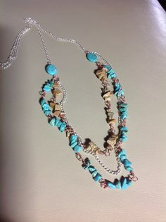 Turquoise chips and silver chain necklace