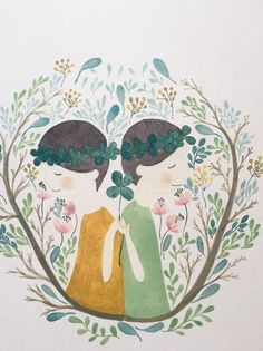 Illustration print Twins illustration watercolour di Abstractales