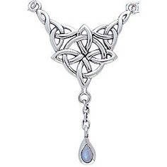 Stylized pendant showcases a Celtic knot symbolizing 'luck' and a genuine moonstone gemstone dropHand-finished jewelry is crafted of fine .925 sterling silverBeautiful Celtic knot necklace makes a thoughtful gift