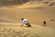 Sand skiing and sandboarding bring the excitement of alpine sports to the world's deserts and dunes. Deserts Of The World, Nazca Lines, Peru Travel, Africa Travel, The Dunes, Travel Activities, Sunset Photos, Luxury Travel, Great Places