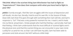 """Part of a great interview from """"To Write Love on Her Arms"""", an organization for awareness of depression, addiction, suicide, and self-harm: http://twloha.com/blog/jared-padalecki-always-keep-fighting"""