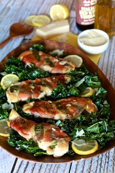 Lemon Chicken Saltimbocca with Massaged Kale Salad. (I'd use Spinach instead of Kale.)
