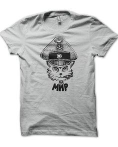 Russian tattoo design t-shirt gray cat mir1 on Etsy