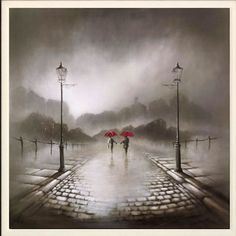 Bob Barker is a UK based artist, born and bred in Yorkshire. It's taken Bob Barker twenty years for his long time love of painting to evolve from a hobby to the point where interest in his work has taken on worldwide awareness. Abstract Pictures, Art Pictures, Nocturne, Arte Black, Umbrella Art, Artwork For Home, Walking In The Rain, Black And White Abstract, Urban Art