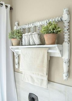 Reclaimed Footboard as a Wall Shelf