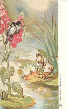 FROGGY WOULD A WOOING GO! (II.)  foxglove, two courting frogs look up at two courting birds