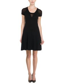 Autumn Cashmere Flared Dress, Color/pattern: black, Design details: semi-sheer cutout and sleeves, rib-knit trim Slip-on styling, 100% cotton, Hand wash