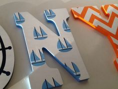 Hanging Letters On Wall, Letter Wall, Nautical Nursery, Nautical Theme, Painted Wood Letters, Wooden Alphabet, Bedroom Themes, Kid Names, Custom Paint