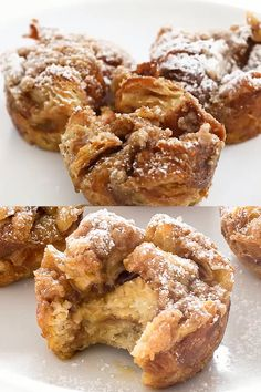 French Toast Muffin Cups - - French Toast Muffin Cups make the perfect breakfast on the go. They are soft and fluffy on the inside with a crunchy streusel topping! French Toast Muffins, French Toast Bake, French Toast Cupcakes, Healthy French Toast, Cinnamon French Toast, French Toast Casserole, Muffin Tin Recipes, Baking Recipes, Breakfast Dishes