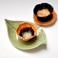 Halloween decor goth Poppy dipping sauce bowl handmade Orange Black stoneware pottery