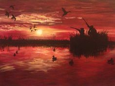 From Ducks to Dawn. Louisiana duck hunting acrylic painting. #canvasesbychloe