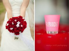 red and white wedding -- this bouquet is really pretty
