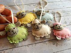 Felt Sheep ornament Wool felt Easter Lamb ornament pastel