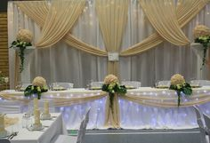 Wedding Table Bride And Groom Backdrops Backgrounds Ideas 50th Anniversary Decorations, 50th Wedding Anniversary, Backdrop Decorations, Backdrops, Wedding Decorations, Wedding Party Favors, Wedding Table, Cinderella Quinceanera Themes, Bride Groom Table