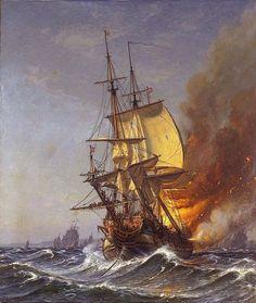 Christian Mønsted - Dannebrog i brand under slaget på Køge Bugt 1710