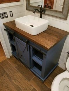 Bathroom decor for your master bathroom renovation. Discover master bathroom organization, bathroom decor suggestions, bathroom tile ideas, bathroom paint colors, and more. Diy Bathroom Vanity, Small Bathroom Vanities, Wood Bathroom, Bathroom Interior, Bathroom Ideas, Bathroom Cabinets, Bathroom Organization, Master Bathrooms, Wood Countertop Bathroom