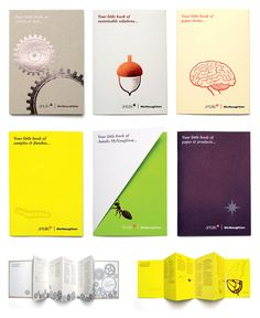 Antalis Little Books: Literature promoting a leading paper merchant's products and services using clever little analogies. #design #little #books #Antalis #literature