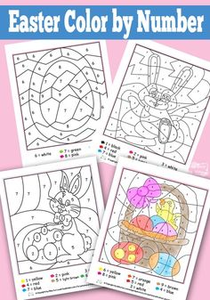 Easter Color by Numbers Worksheets - free printable for kids to practice number recognition, can be adapted for addition or other math games! - DIY and Crafts Easter Art, Hoppy Easter, Easter Crafts, Easter Bunny, Holiday Crafts, Holiday Fun, Easter Eggs, Easter Ideas, Easter Table