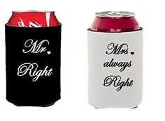 Mr. Right and Mrs. Always Right Can Coolers Gift Set