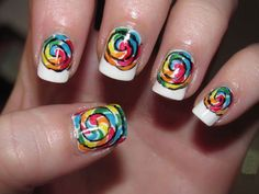 french tip colorful nails Easy Nail designs for short nails