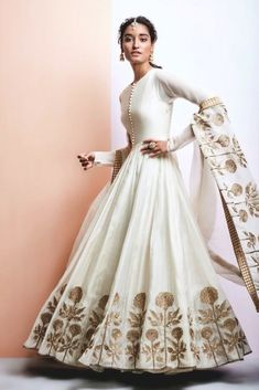 Photo of Off White Lehenga with Copper Floral Embroidery Indian Women Suits – White Silk Anarkali with Copper Zardozi Embroidery on Border and Dupatta Indian Lehenga, Indian Gowns, Indian Attire, Indian Ethnic Wear, Anarkali Lehenga, Long Anarkali, Indian Anarkali Dresses, Silk Anarkali Suits, Cotton Anarkali