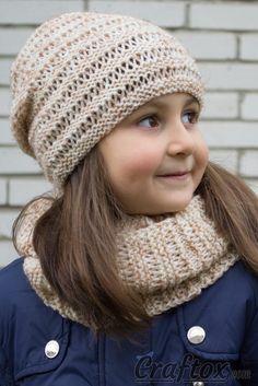 Hat and cowl set Kari. Knitting pattern for beginners. Pin.