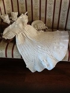 Flower Petal Crochet Baby christening outfit pattern for  ages 3- 12 months