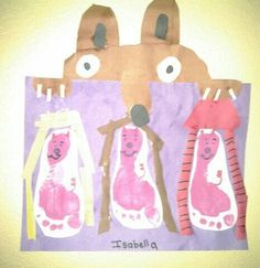 three little pigs and the big bad wolf. paper craft footprint craft fairy tales