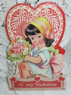 Vintage Valentine's Day Card 1930s 1940s Honeycomb Adorable Girl w Flowers 1939 | eBay