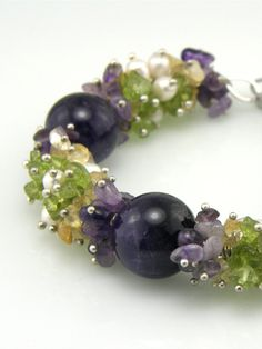 Purple and Green Gemstone Cluster Beaded by TrinketsNWhatnots, $35.00  Beautiful chip beads and freshwater pearls create textured clusters.